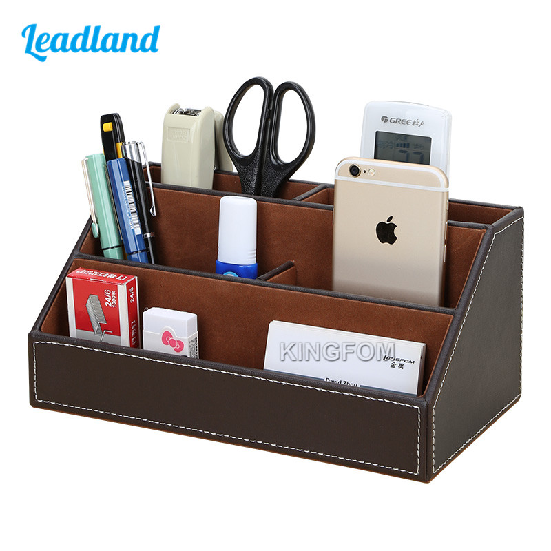 Home & office leather desk stationery jewelry makeup and miscellaneous items holder container organizer black A026 box