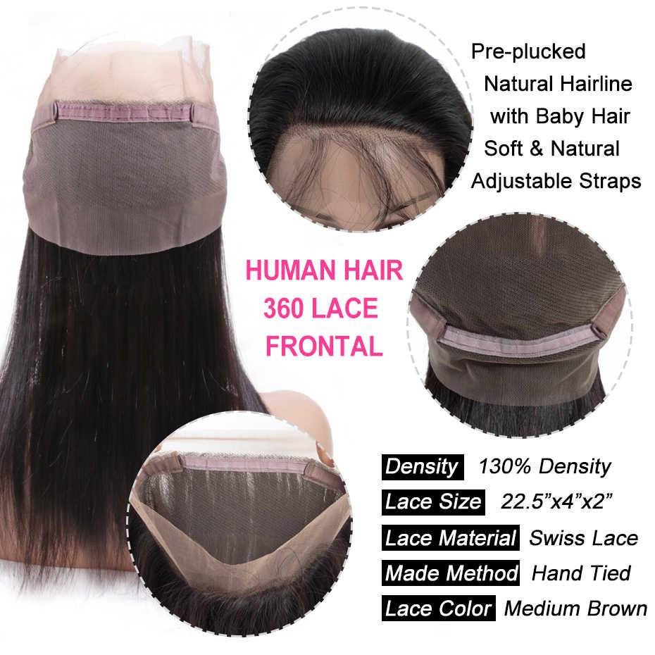 Gabrielle indiano cabelo reto 360 laço frontal com cabelo do bebê cor natural 8-22 polegada remy cabelo humano parte livre fechamento
