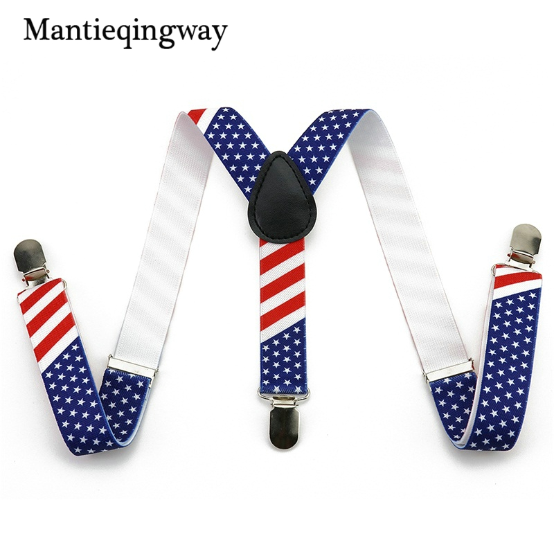 Mantieqingway Stars Striped Elastic Braces Suspenders Blue 3 Clip-on Suspenders For Children Y Back Shirt Garters For Boy&Girl