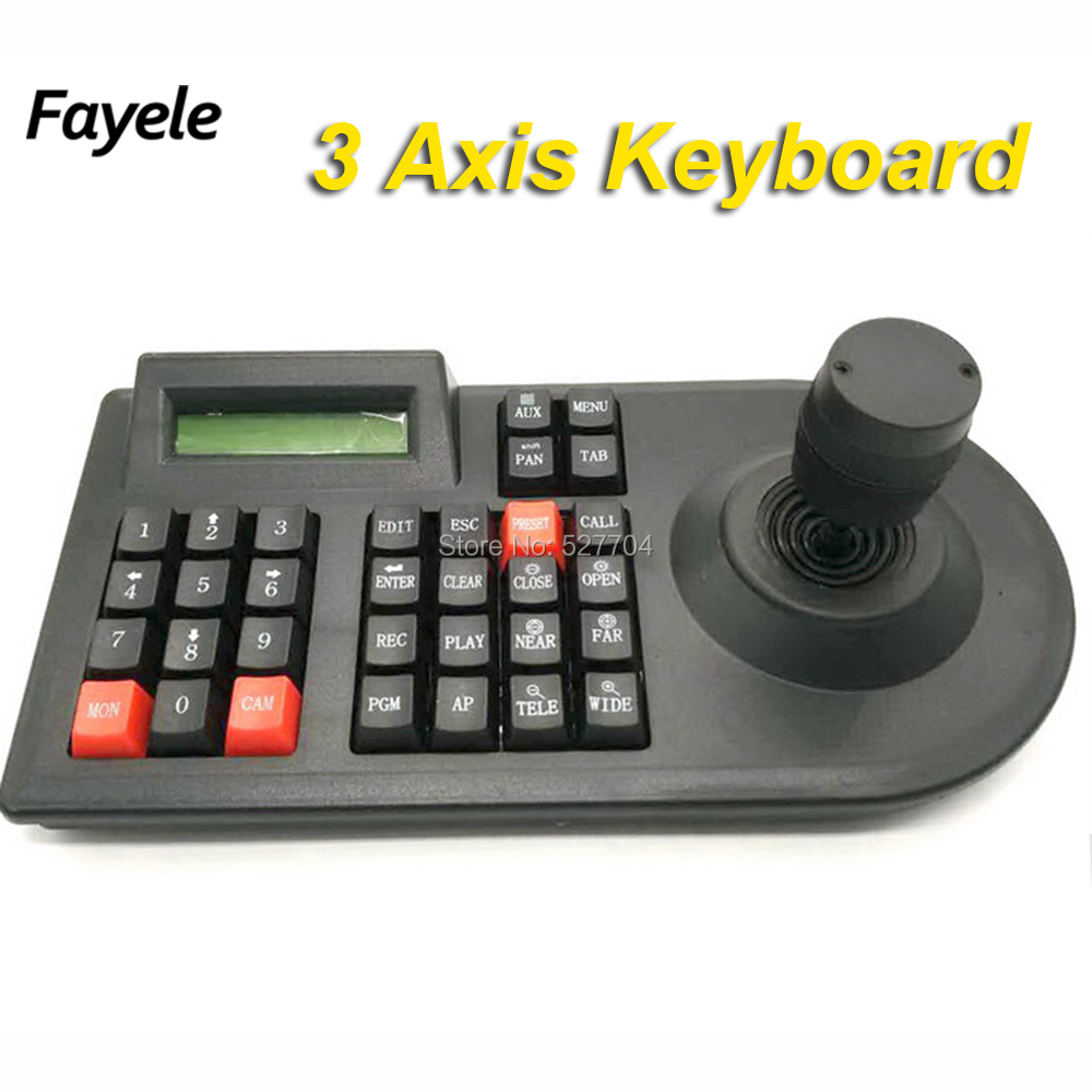 CCTV Surveillance 3D 3Axis Joystick Intellectual PTZ Camera Controller Keyboard RS485 PELCO D P LCD Security