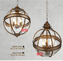 Vintage Loft Globe Pendant Lights Wrought Iron Glass Shade Kitchen Light Dinning Hanging Lamps Bar pendente Luminaire Fixture(China)