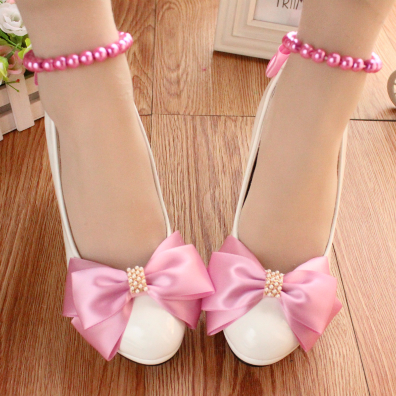 Woman New Wedding Shoes Beading Bowknot Ladies Party/Bridal Shoes High Heels Sexy Pumps White Shoes Sapato Feminino Z695