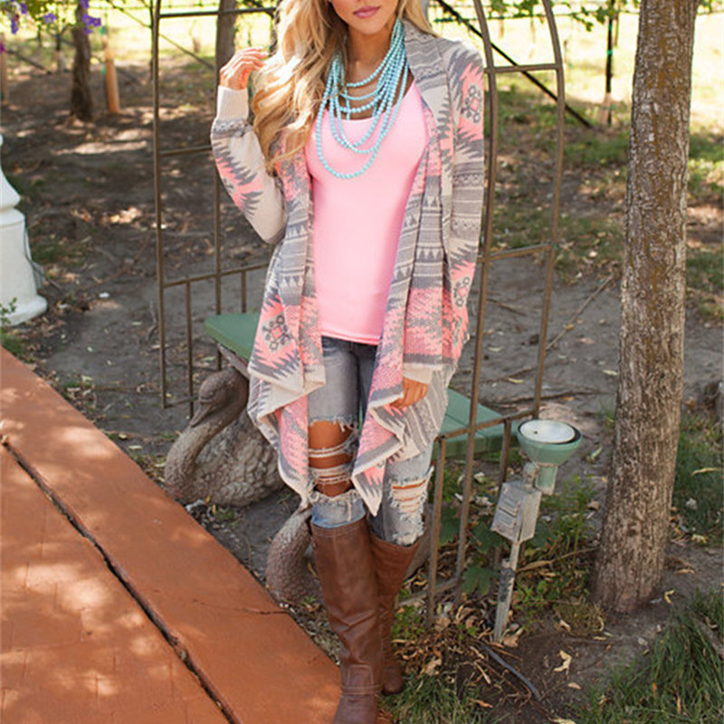 women new fashion Aztec printed long sleeved casual all match Cardigans