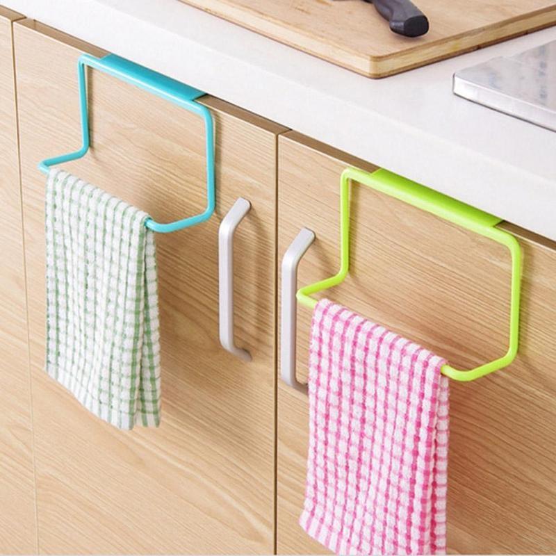 Door Tea Towel Rack Bar Hanging Holder Rail Organizer Bathroom Cabinet Cupboard Hanger Kitchen Accessories