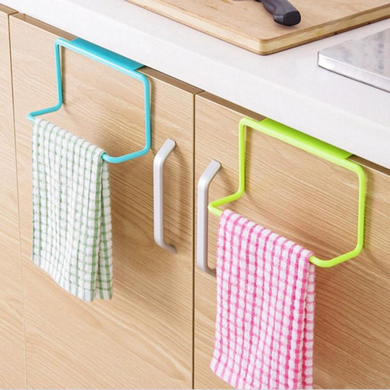 Door Towel Rack Bar Hanging Holder Rail Organizer Bathroom Cabinet Cupboard Hanger Kitchen Accessories
