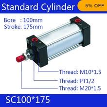 SC100 * 175 Бесплатная доставка Стандартные цилиндры воздуха клапан 100 мм диаметр 175 мм ход одноместный род двойного действия пневматический цилиндра