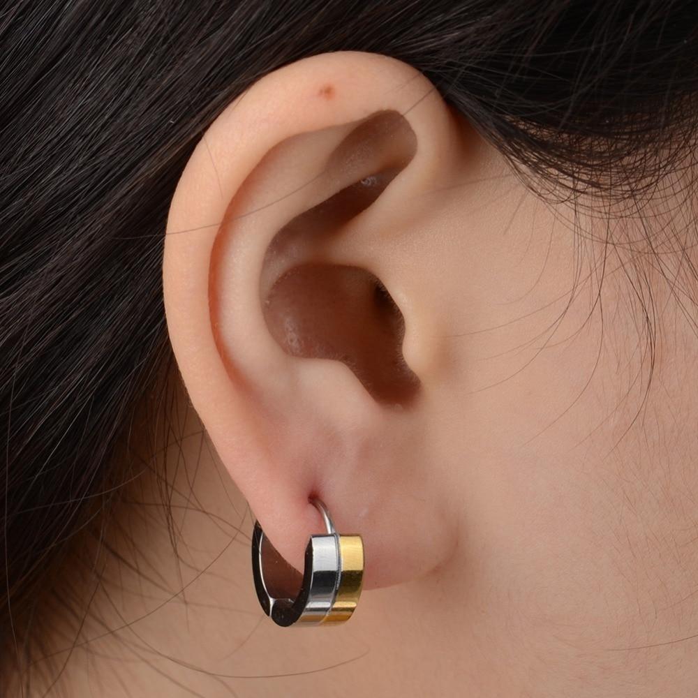 Imixlot 1pair Unisex Polish Silver Gold Twotone Stainless Steel Hoop Ear  Huggies Earrings For Women Men
