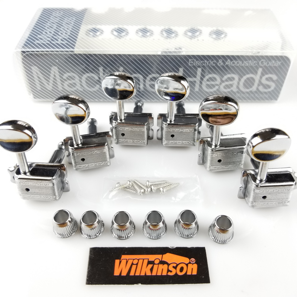 Wilkinson VINTAGE CHROME TUNERS Electric Guitar Machine Heads Tuners For ST & TL Guitar OR Similar WJ-55 Silver Tuning Pegs 3 left 3 right chrome inline locked string guitar tuning pegs keys tuners machine heads for strat tele style electric guitar