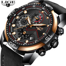 LIGE Mens Watches Top Luxury Brand Fashion Business Quartz Watch Men Leather Military Sport Waterproof Clock Relogio Masculino relogio masculino lige men watches top brand luxury mens waterproof quartz watch men s fashion leather military sport watch saat