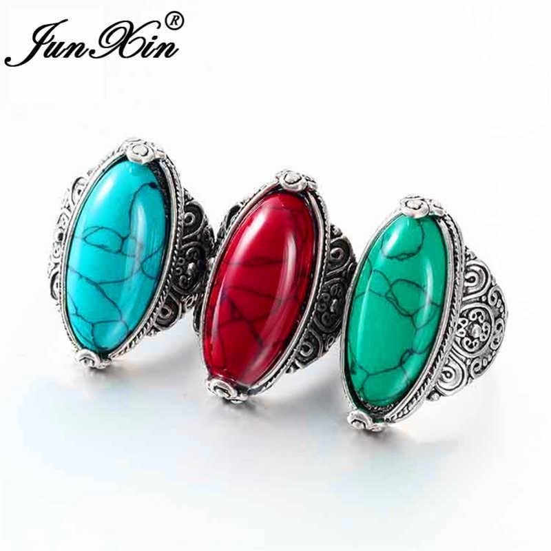 JUNXIN Vintage Marquise หินขนาดใหญ่แหวนผู้ชายผู้หญิงเงินโบราณโลหะสีดำสีฟ้าสีเขียวสีแดงมูนสโตนแหวนชายหญิงแหวน
