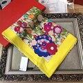 Новый Горячий Продажа Женщины Шелковый Шарф Цветочный Узор Зимний Шарф 110 см * 110 см Платок Теплый Женщины Обертывания высокое Качество BY1722418