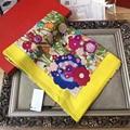 Brand New Hot Sale Women Silk Scarf Flower Pattern Winter Scarf 110cm*110cm Kerchief Warm Women Wraps High Quality BY1722418