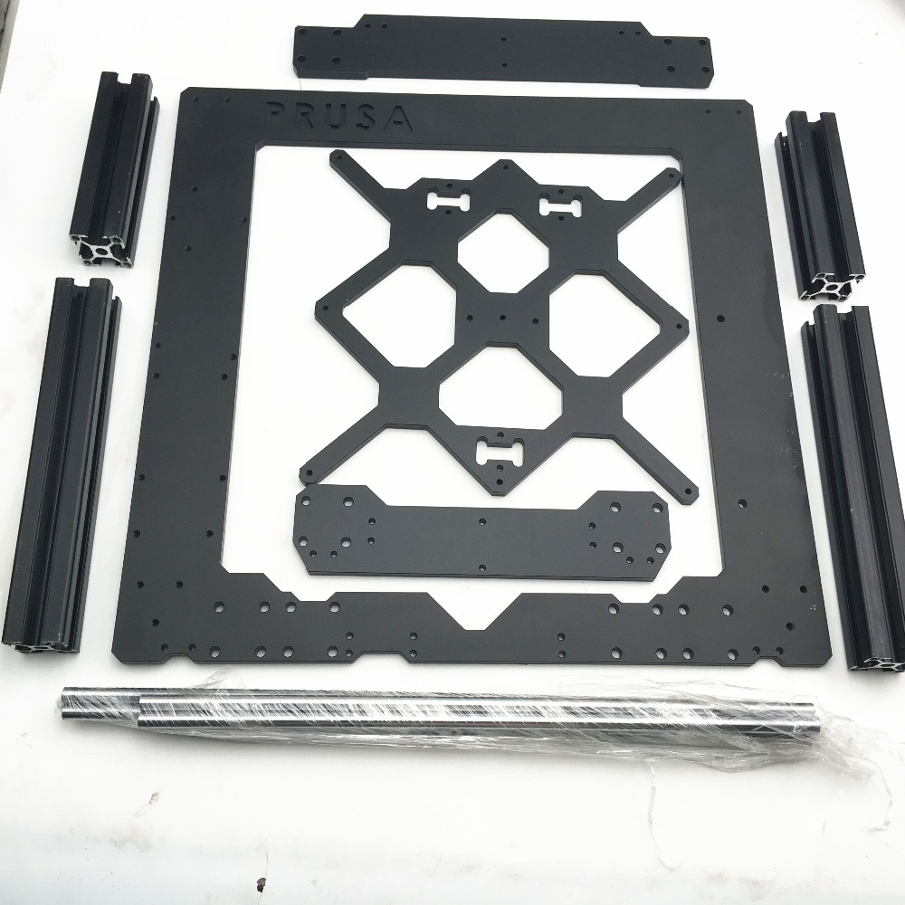 1Set Prusa i3 MK3 Aluminium alloy metal frame with Profile and smooth rods kit 6mm thickness Prusa i3 MK3 Frame Fast Ship 1set aluminium alloy prusa i3 mk3 frame kit with m5 tapped extrusions 6mm thickness