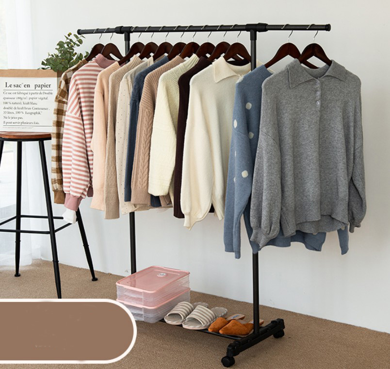 Black Floor Standing Drying Rack Metal Single Rod Balcony Indoor Clothing Hanger Handbag Shoes Coat Stand Rack Portable B479