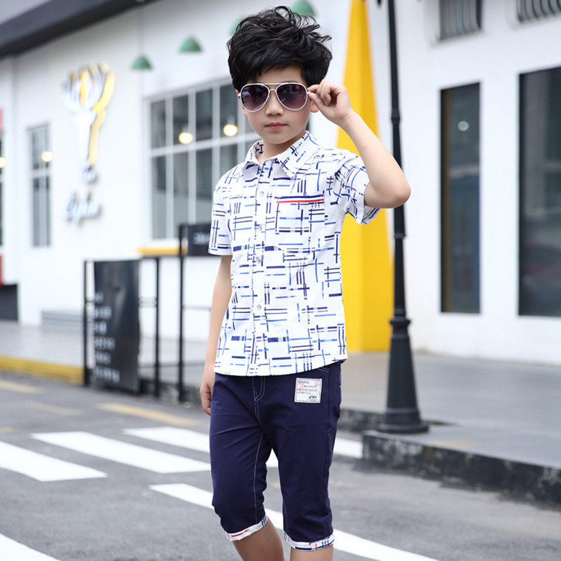 Summer Boys Clothing Set Fashion Casual Short Sleeve Children Clothes Sets 2 Pieces T-Shirt + Pants For Color Red / Blue 120-170