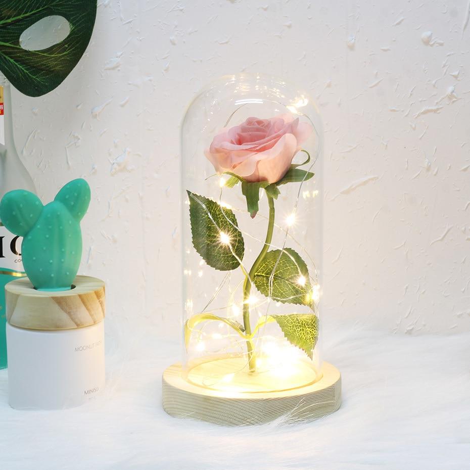 6 цветов Красота и чудовище красная роза в стеклянном куполе на деревянной основе для подарков Святого Валентина светодиодный лампы с розами Рождество