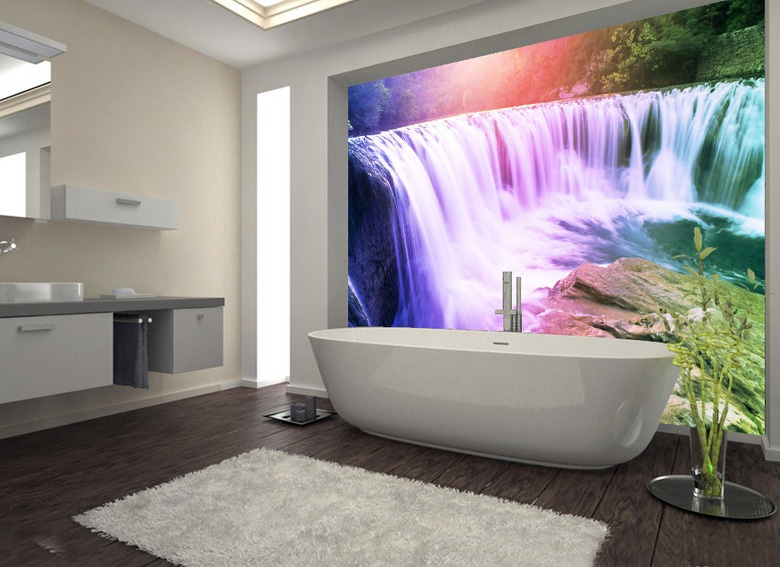 Large 3D Wall Stickers Rainbow Waterfall Shower Bathtub Art Wall Mural Floor Decals Creative
