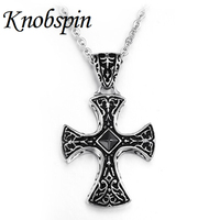 Gem Large Black Cross Necklaces Pendants Collares Vintage Gothic Style Long Crucifix Necklace For Men Collier
