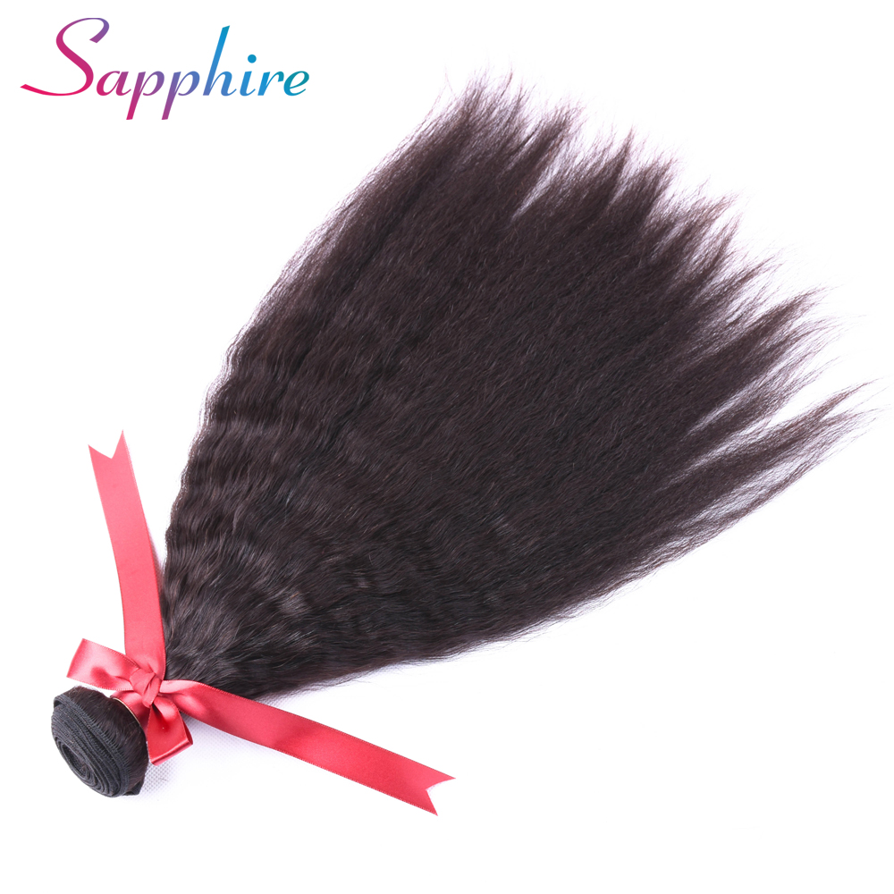 Sapphire Malaysia Kinky Straight Non Remy Hair 1 Piece Natural Color 100% Human Hair Weaving Free shipping