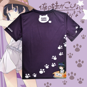 Japanese Anime Oreimo T-shirt Kuroneko, Goko Ruri Polyester T Shirt Summer Active Animation Men Women Clothing 2