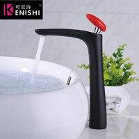 Kenishi Новые, стильные, Лидер продаж бассейна кран Soild Латунь Chrome Литой 2 на платформе повышение Цвет черный и красный живопись Ванная комната к