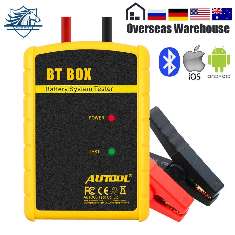 AUTOOL BT boîte testeur de batterie de voiture 12 V analyseur numérique outils automobiles démarrage Test de charge moniteur de batterie pour Android IOS