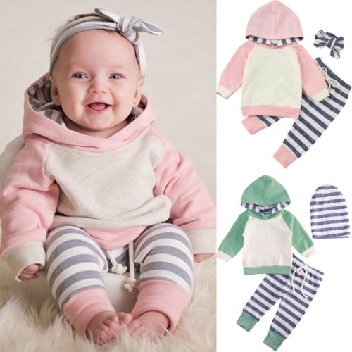 3pcs Newborn Toddler Baby Boy Girl Hooded Sweater Tops Casual Striped Harlem Pants Outfits Set Clothes 2018 New