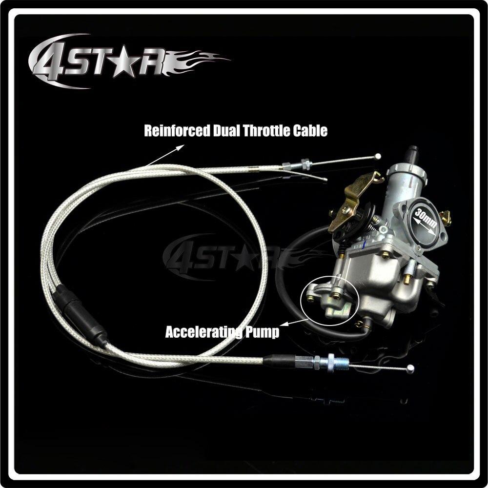 Hight Performance PZ30 30mm Carburetor Power Jet Accelerating Pump +Dual Cable IRBIS For 200cc 250cc Motorcycle Dirt bike