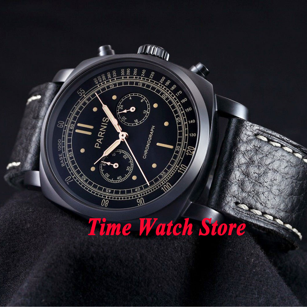 Parnis men's watch black dial Full chronograph luminous hands and marks 44mm PVD CASE quartz movement wrist watch men 544 цена и фото