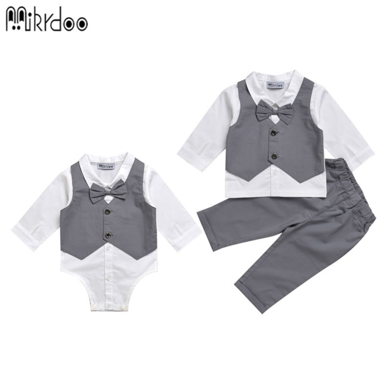 Mikrdoo kids baby boy clothes suit vest+bow shirt romper+pants fake 2 pieces formal gentleman wedding clothing set Age 0-2 Years kids clothing set plaid shirt with grey vest gentleman baby clothes with bow and casual pants 3pcs set for newborn clothes