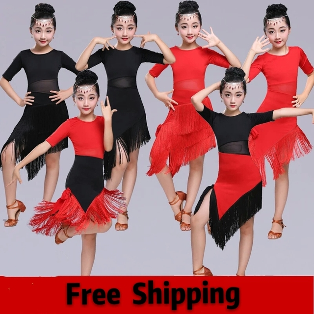 d8e7076a47b51 Grande taille Sexy Robe Robe Danse Latine Femme Junior Latin robes Danse  Costumes Fr enfants fille