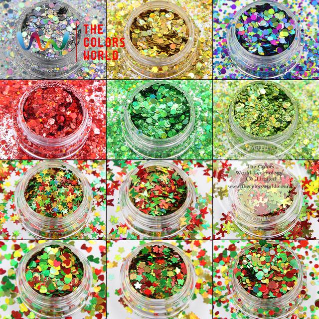 XmasT-001 Mezclar Colores y formas Brillo de uñas de arte del maquillaje DIY decoración de Navidad y adornos navideños