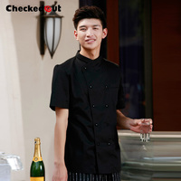 Checkedout Cook suit short sleeve chef clothes chef uniform Top quality chef jacket working clothes