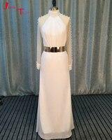 Jark tozr Vestidos De Noiva с длинным рукавом блестящие Жемчуг белый Пляжные Свадебные платья 2018 Пояса Vestidos Largos Китай Интернет магазин
