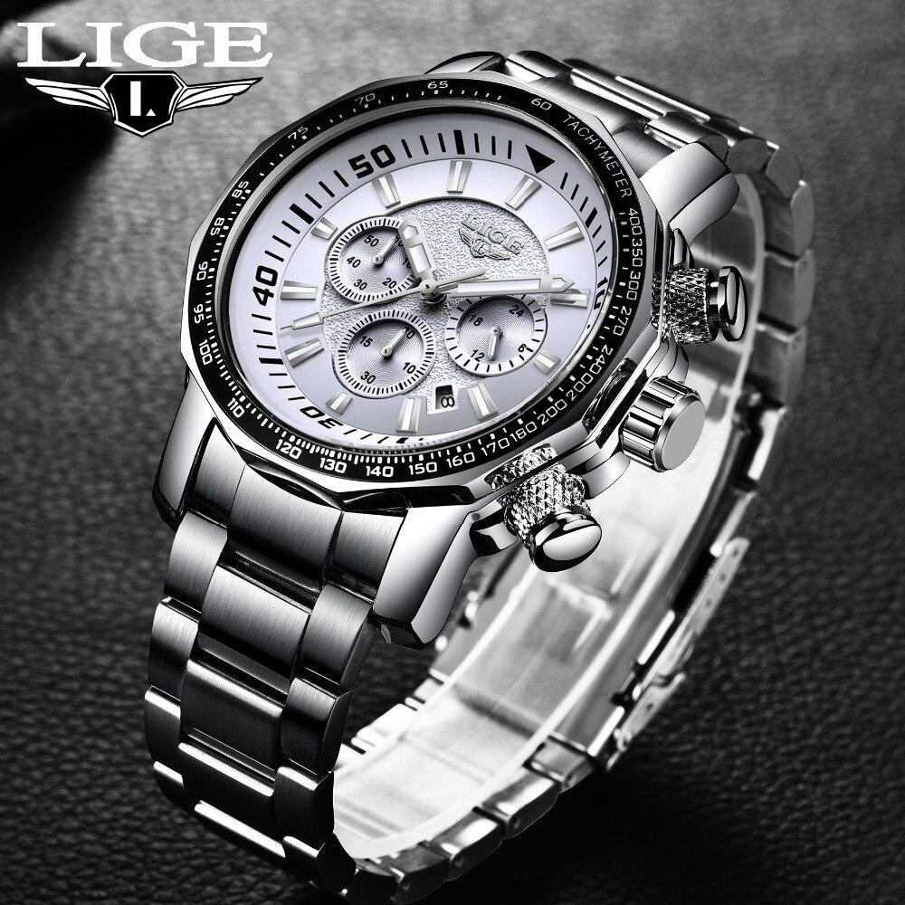 Militaire Montre LIGE Hommes Montres Mode Sport Quartz Grand Cadran Horloge Tout En Acier Top Marque De Luxe Mâle Étanche Relogio Masculino