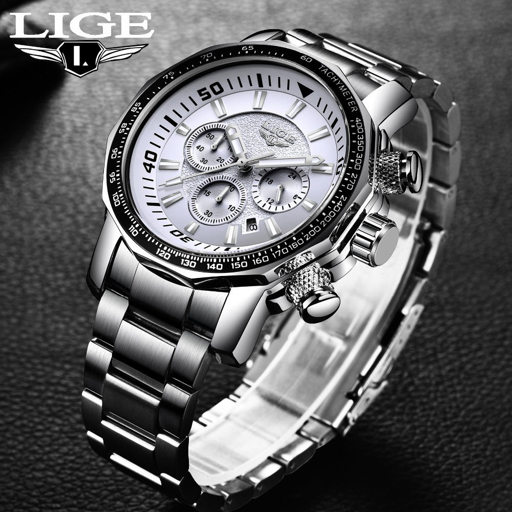 Military Watch LIGE Men Watches Fashion Sport Quartz Big Dial Clock All Steel Top Brand Luxury Waterproof Male Relogio Masculino epozz brand new quartz watch for men big dial waterproof stainless steel watches classic casual top fashion luxury clock 1602