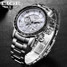 Military Watch LIGE Men Watches Fashion Sport Quartz Big Dial Clock All Steel Top Brand Luxury Waterproof Male Relogio Masculino relogio masculino men watches lige top brand luxury fashion quartz clock men s business waterproof big dial military sport watch