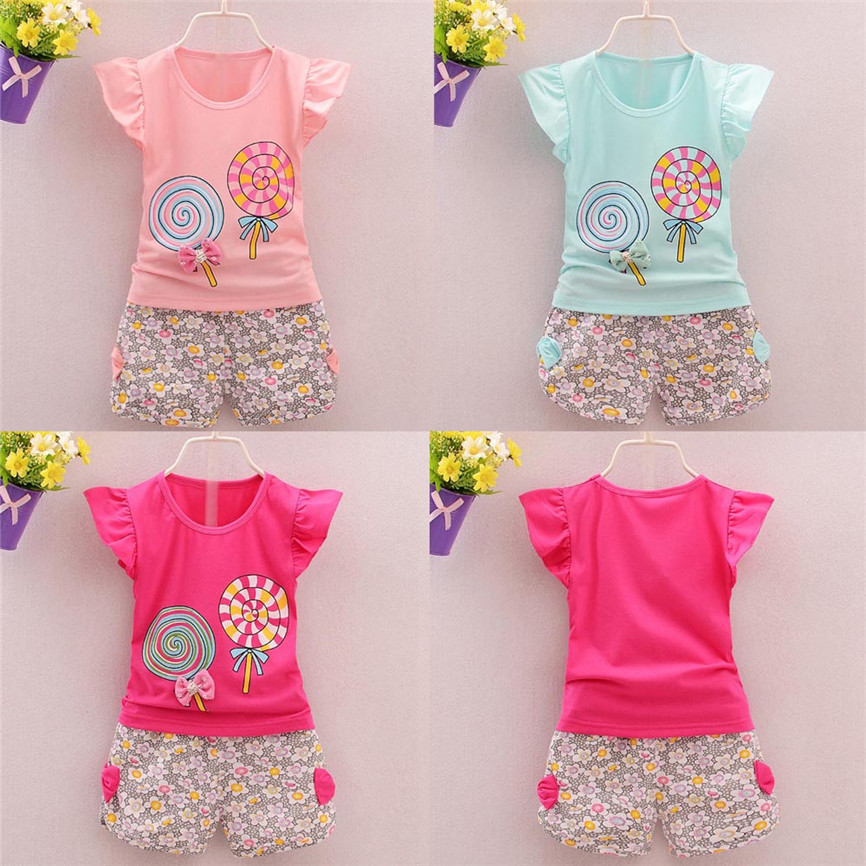 TELOTUNY 2PCS Toddler Kids Baby Cute Girls Bowknot Outfits