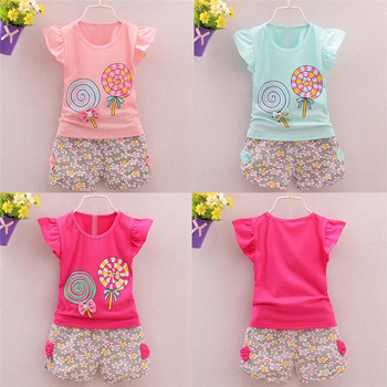 2PCS Toddler Kids Baby Cute Girls Bowknot Outfits Lolly T-shirt Tops+Short Pants Clothes Set Clothing Set Dropshipping 922