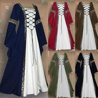 Women's Vintage Celtic Medieval Floor Length Renaissance Gothic Cosplay Dress