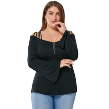 Plus Size 5XL Women Clothing Sexy Lace Bell Flare Sleeve Tshirts