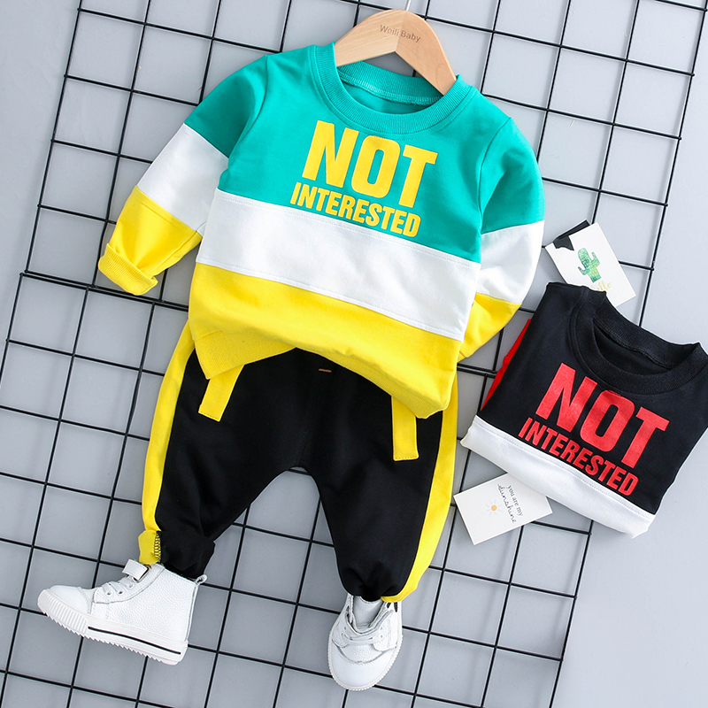 baby boy clothes 2pcs set 2018 Autumn New Fashion mix color O-neck full sleeve coat 18057 kids 2pcs set