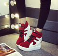 New 2017 increased lacing shoes mixed colors flock Flat Platform casual shoes high-top female matte casual shoes tide students