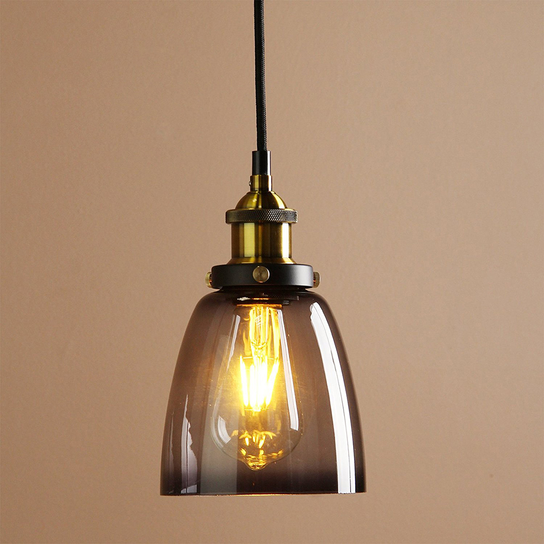 Vintage Industrial Metal Finish Black Gray Glass Shade Retro Ceiling Light Vintage Hanging Light fitting (diameter 14cm glass