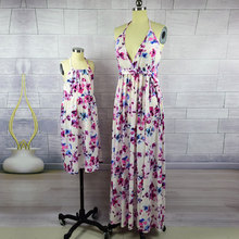 Mom's and Daughter's Floral Printed Dresses