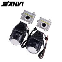 Sanvi 2pcs 35W 6000K 3Inch Bi LED Projector Lens Headlight Hi Low Beam Car LED Headlight Retrofit With Intelligent Cooling Fan