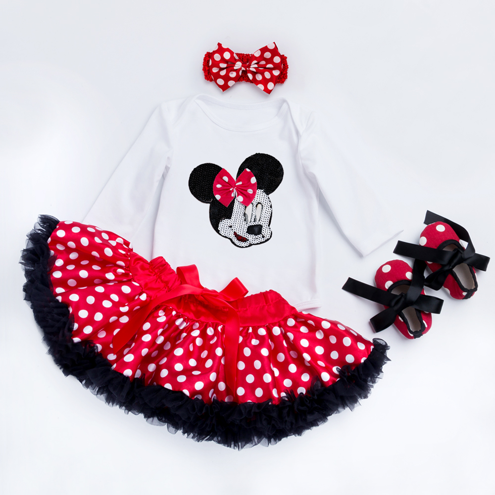 Мақта сәні Baby Girl Clothes White long sleeve Romper Dot Tutu юбки Headband Shoes Infant Clothing 0-2years Baby Suit