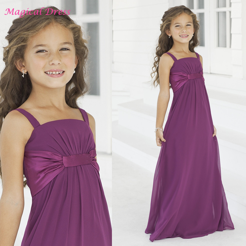 High quality wholesale wedding junior bridesmaid dresses from lovely purple junior girls bridesmaid dresses straps cheap formal long chiffon flower girl dress for weddings ombrellifo Image collections