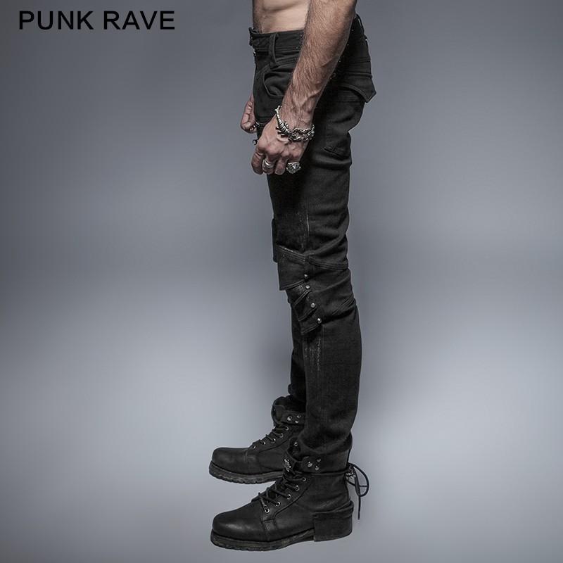 K-239 Punk Spring black Unique Armor Knee Man Washing Jeans