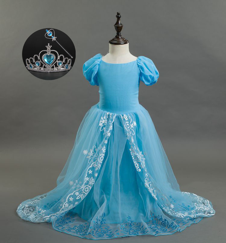 Blue and White Girls Gown with Trail New 3-10y Short Sleeve Princess Girls Party Formal Dress Evening Gowns for Kids lole шорты lsw0898 lively short l evening blue